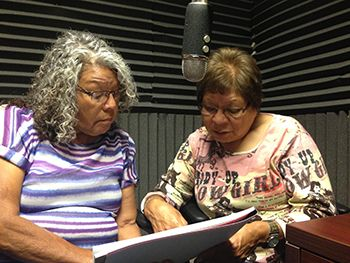 Sisters Martha Birdbear and Mary Gachupin recording in New Town, ND for the Hidatsa Vocab Builder.